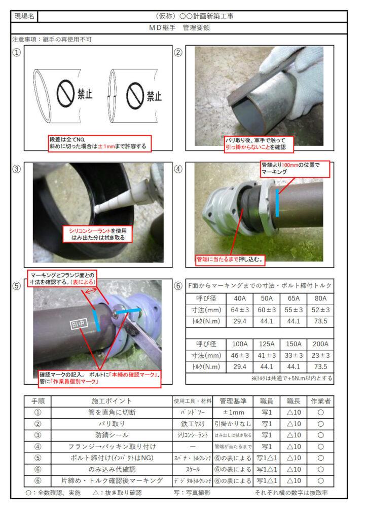 MD継手の品質管理手順書。5W1Hと写真を使った施工要領で管理内容を見える化している。