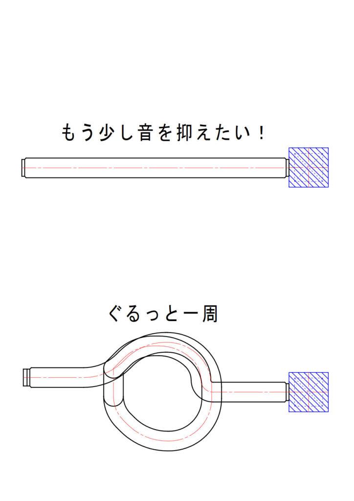 ダクトルートにひと手間加えるだけで消音フレキの消音効果向上する(一周巻く)